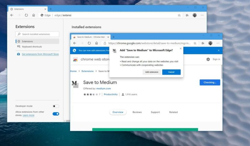 How to install Chrome extensions to the new Edge browser