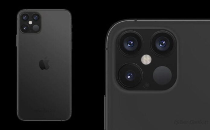 Render shows iPhone 12 Pro with a triple camera and LiDAR