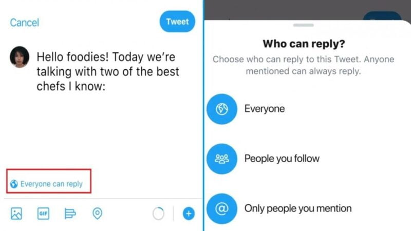 Twitter tests a button to limit who can reply you