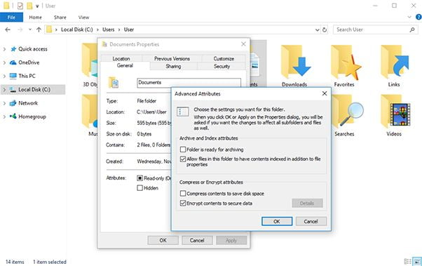 How to encrypt files in Windows 10 without programs?