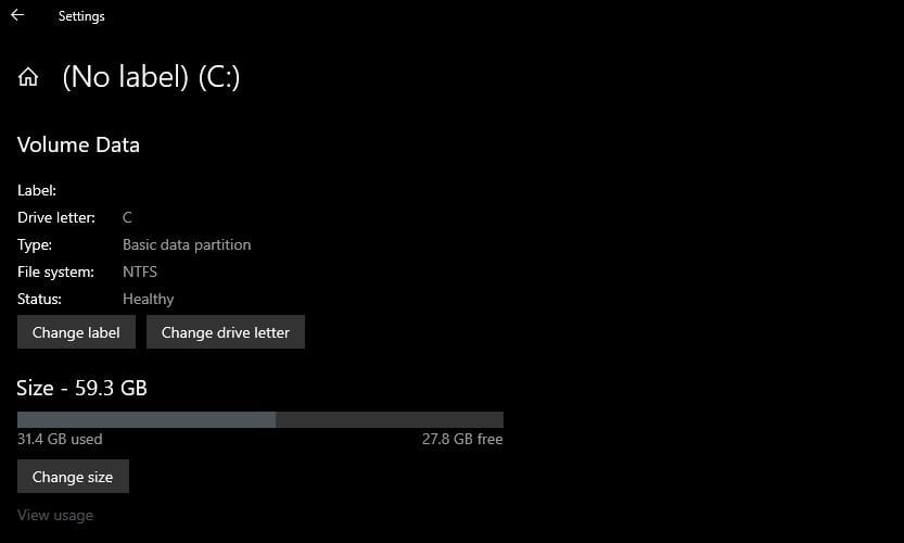 This is what the new Windows 10 disk partition manager looks like
