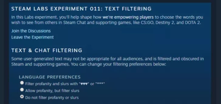 Valve is developing a chat and text filtering feature for Steam