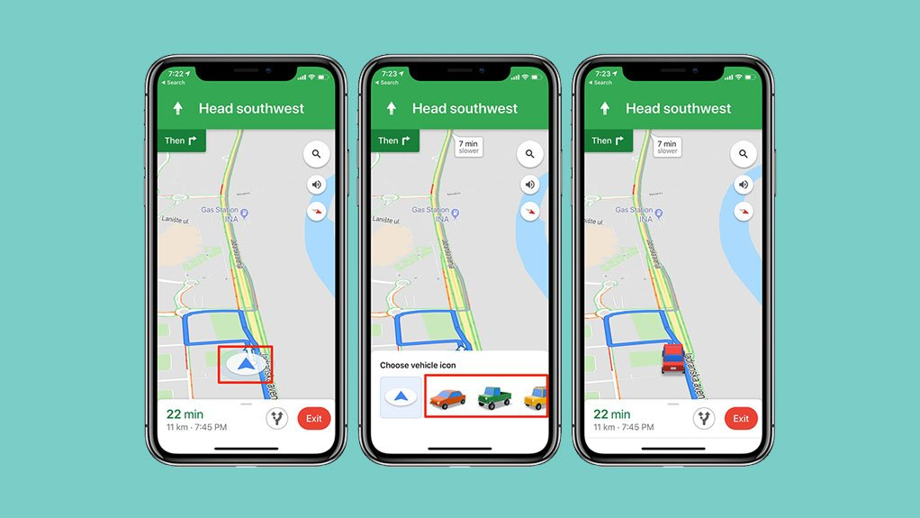 How to change the Google Maps arrow for a car on iOS and Android?