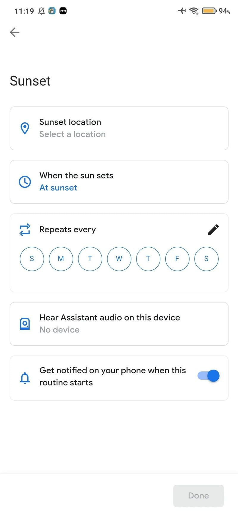 Google Assistant experiments sunrise and sunset routines