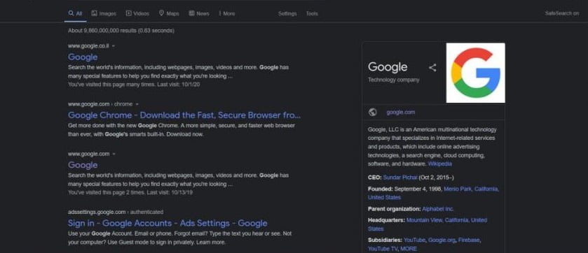 Google will have dark mode on the search engine soon