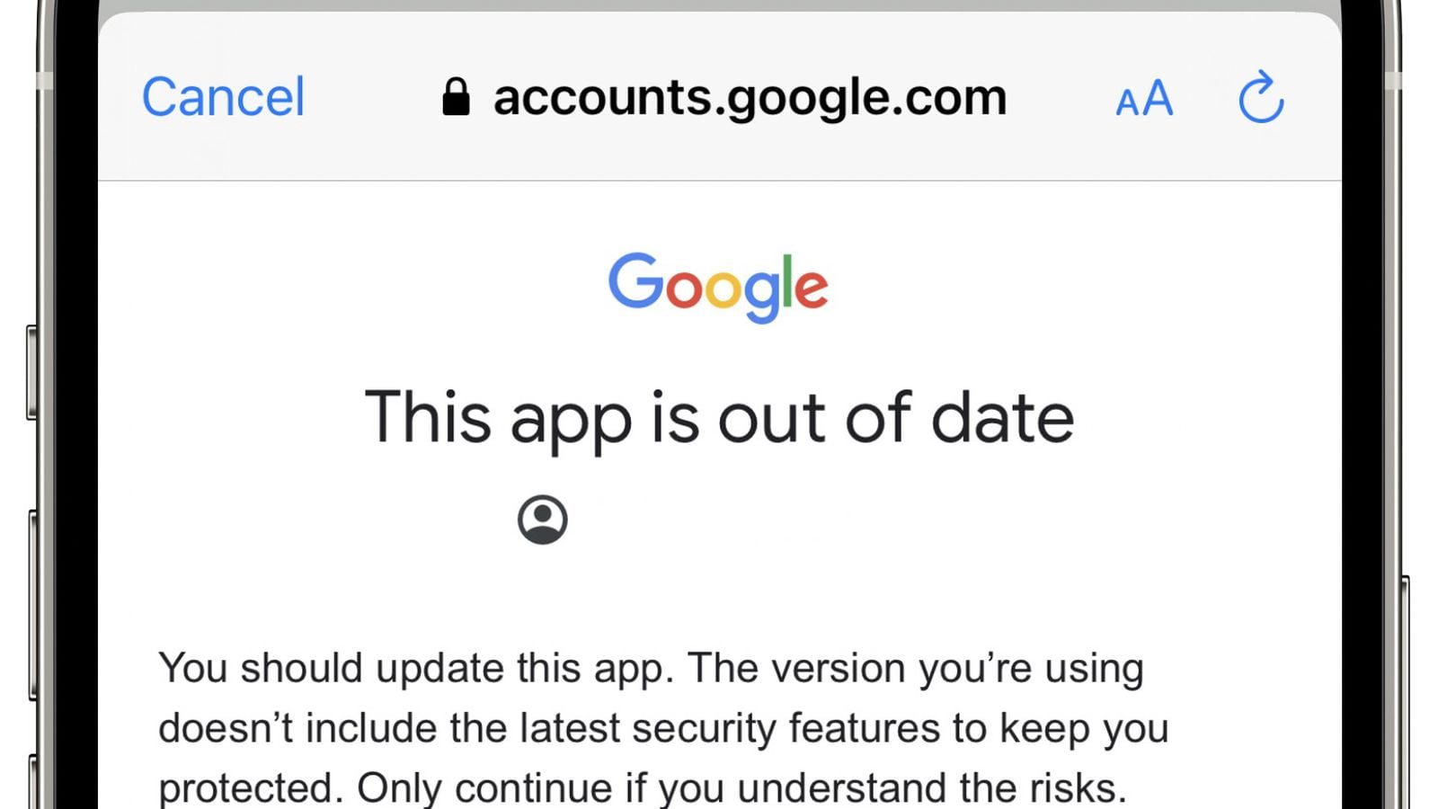 Gmail's iOS app has been showing 'out of date' warning because of a bug