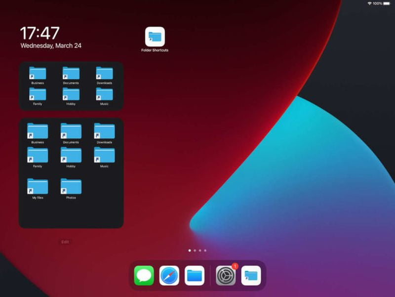How to add shortcuts to folders on the iOS home screen?