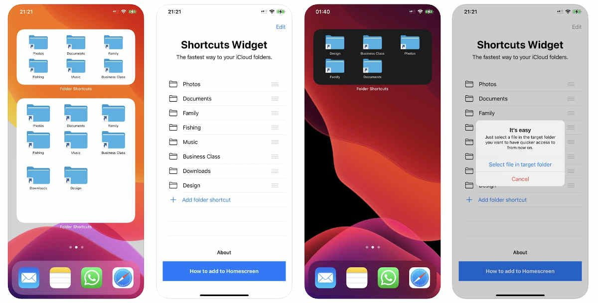 How to add shortcuts to folders on the iOS home screen