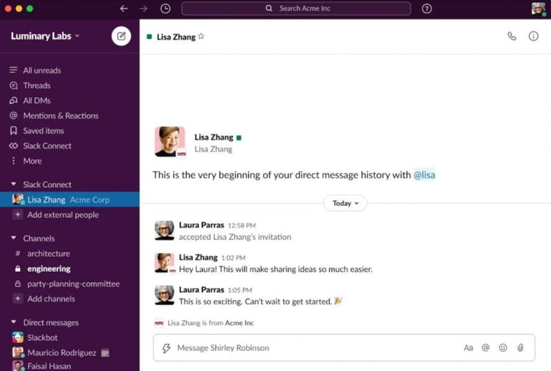 Slack now allows sending direct messages to members of other companies