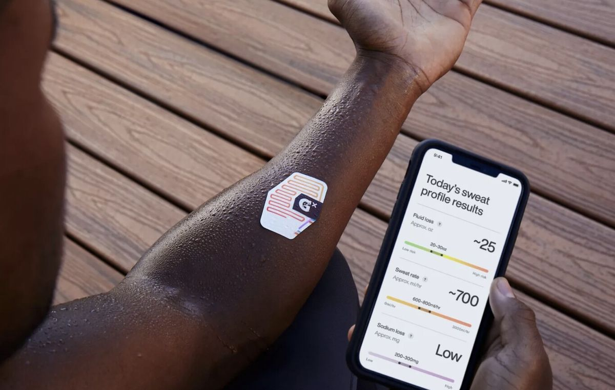 This Gatorade sticker is a wearable that Analyzes sweat to tell athletes how and when to hydrate