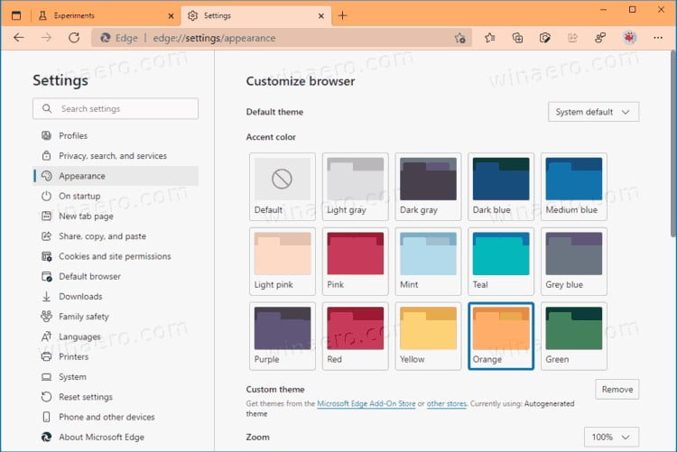 How to change themes in Microsoft Edge?