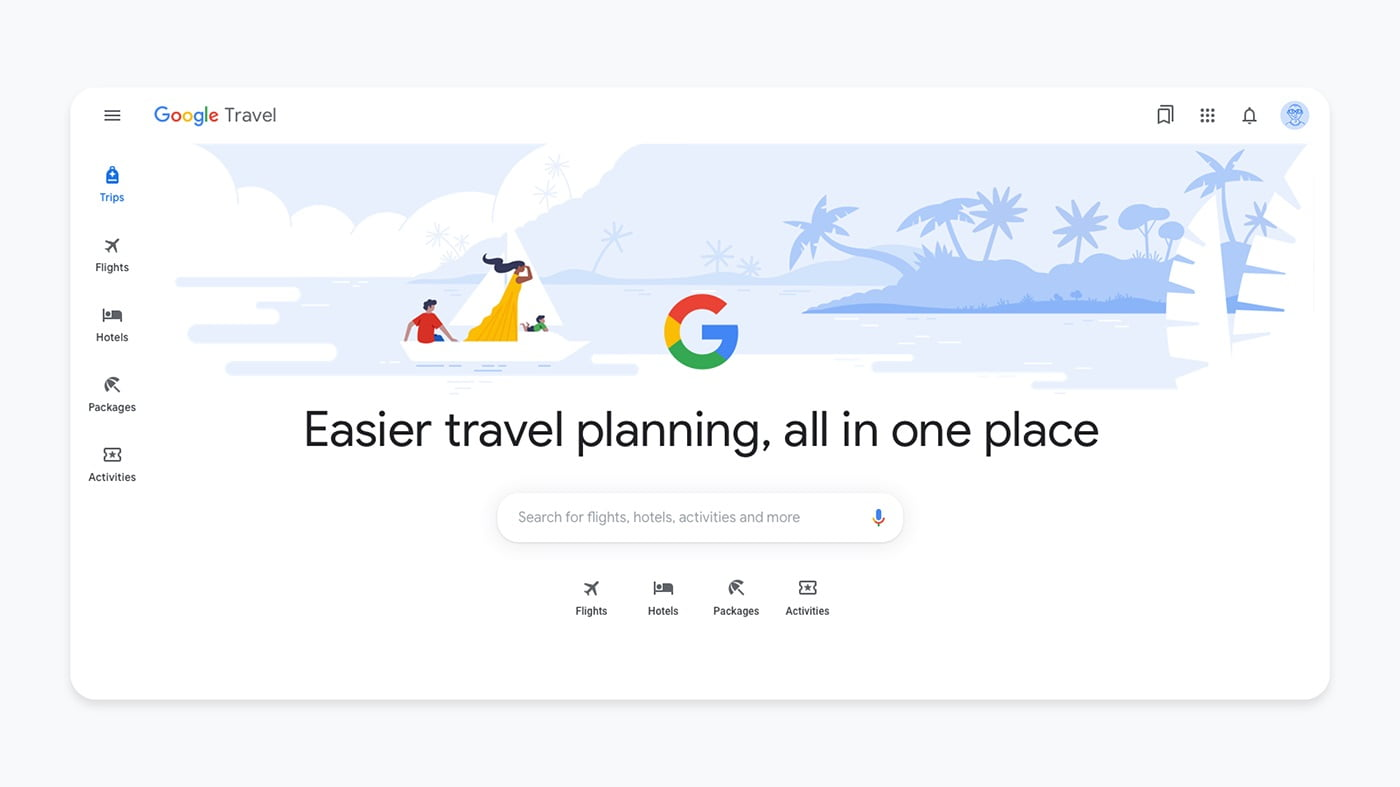 Google Travel will show hotel search listings for free