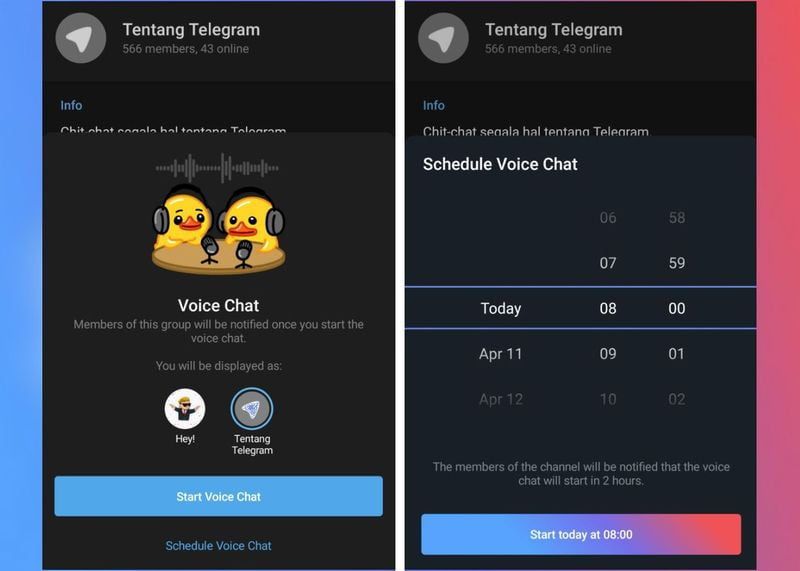 Telegram allows scheduling voice chats in channels, in beta for now