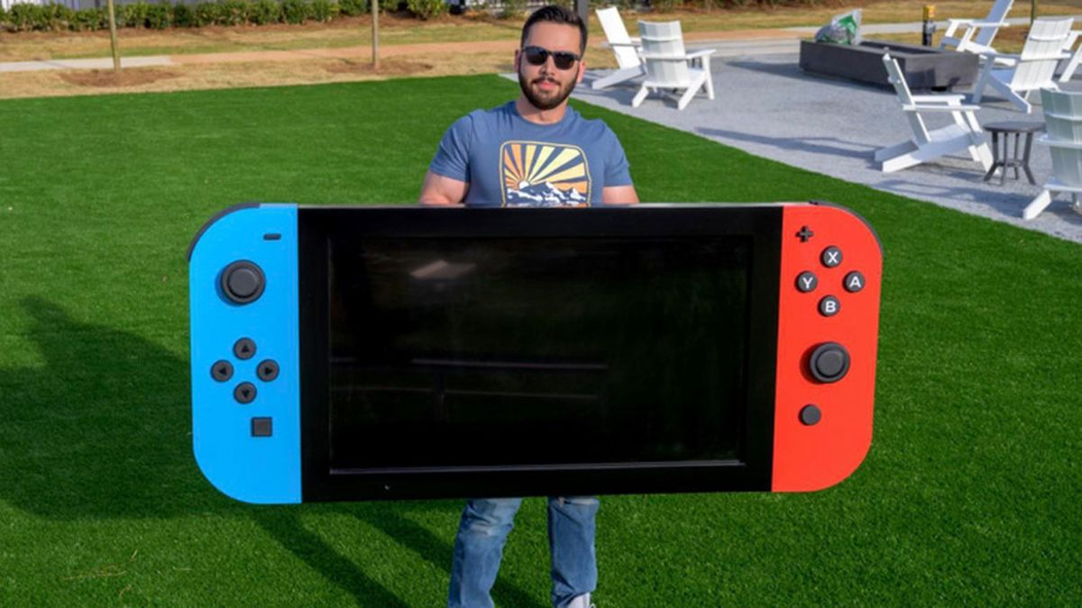 The world's largest Nintendo Switch is almost two meters long, weighs 30 kilos, and has a 4K display