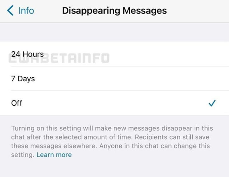 WhatsApp will let you choose on messages that disappear: The next day or the next week