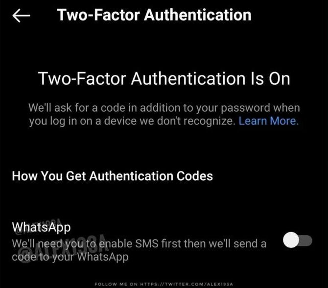 Instagram could allow Two-factor authentication by sending codes via WhatsApp