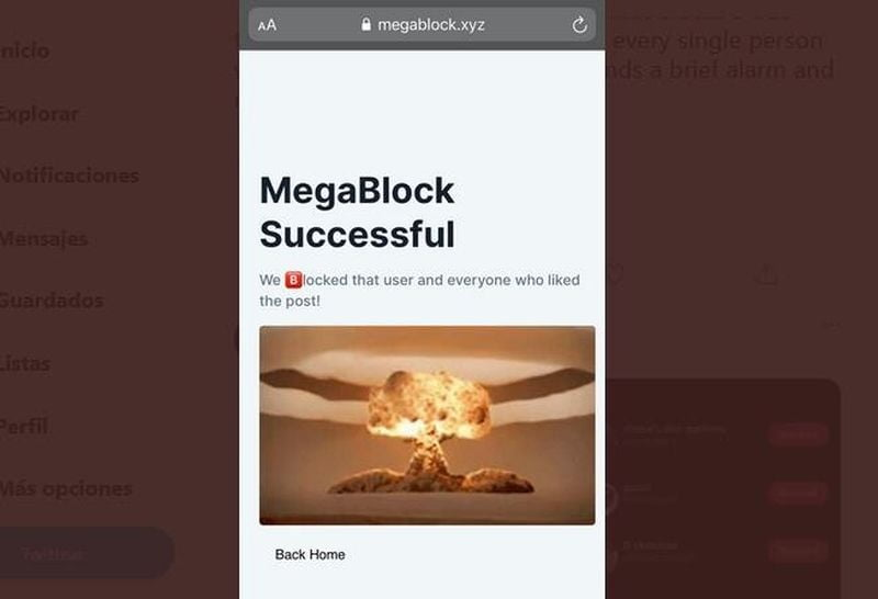 MegaBlock: Suddenly block on Twitter anyone who has liked a tweet that you have not liked