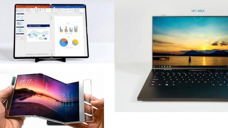 Samsung's new prototypes of foldable cell phones, tablets, and notebooks