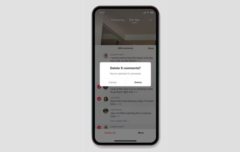 TikTok allows blocking of accounts and mass deletion of comments