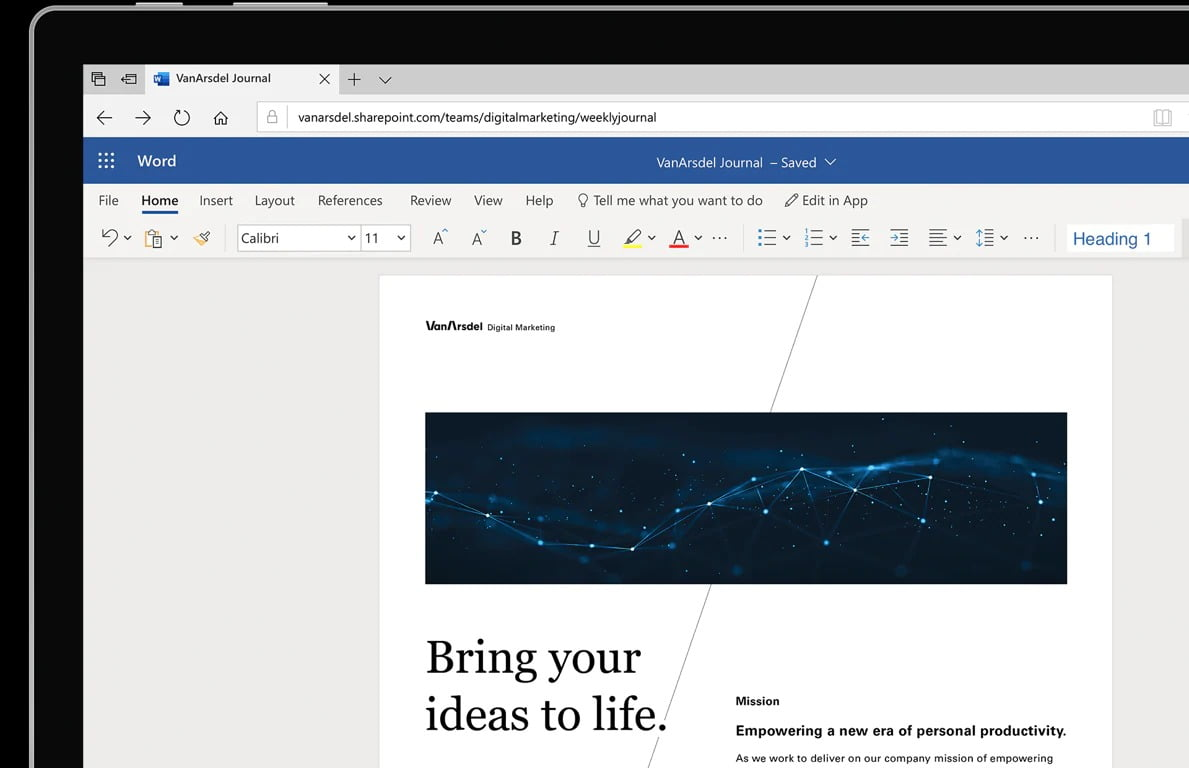 How to create a cover page in Word Online?