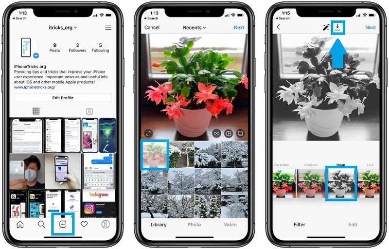 Instagram: How to edit photos without uploading them in the application?