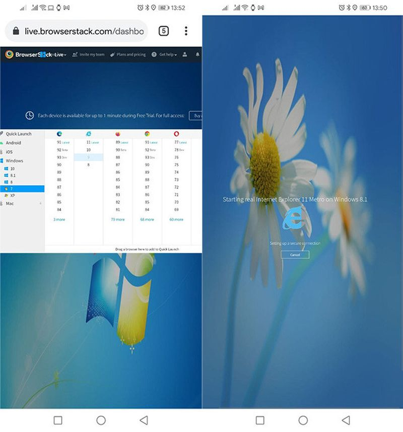 How to open web pages that require Internet Explorer on an Android phone?