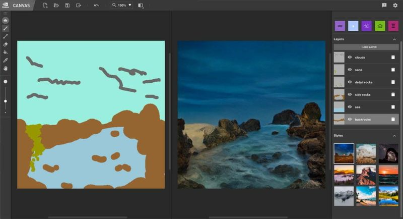 NVIDIA Canvas, free artificial intelligence software for turning sketches into real images