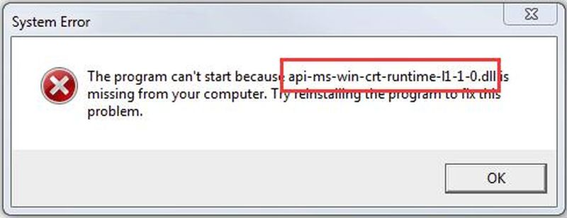 How to fix 'Program does not start because API-ms-win-crt-runtime-l1-1-0.dll is missing on your computer'?