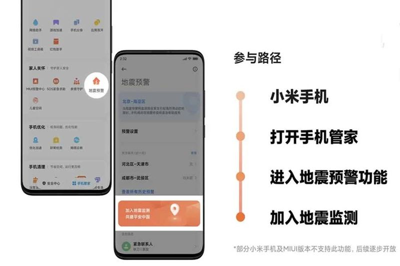 Xiaomi smartphones will be able to monitor earthquakes, an add-on feature to MIUI alerts
