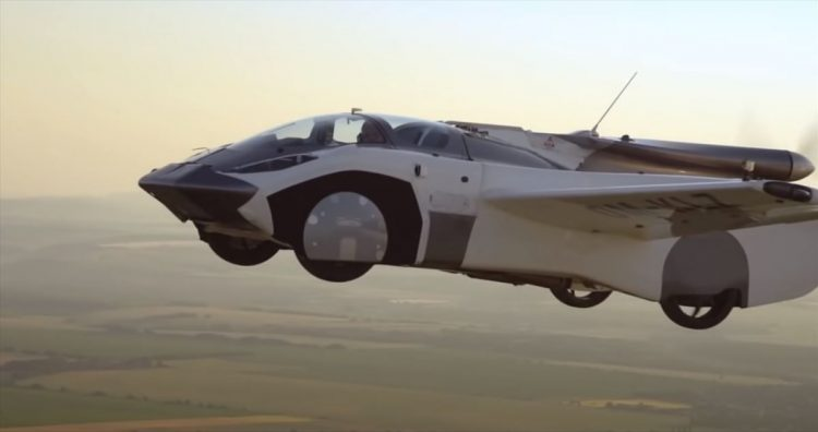 The first test of a car flying from city to city