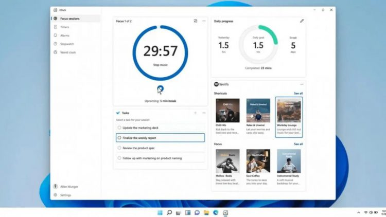 Windows 11 will integrate the Focus Sessions feature to improve productivity