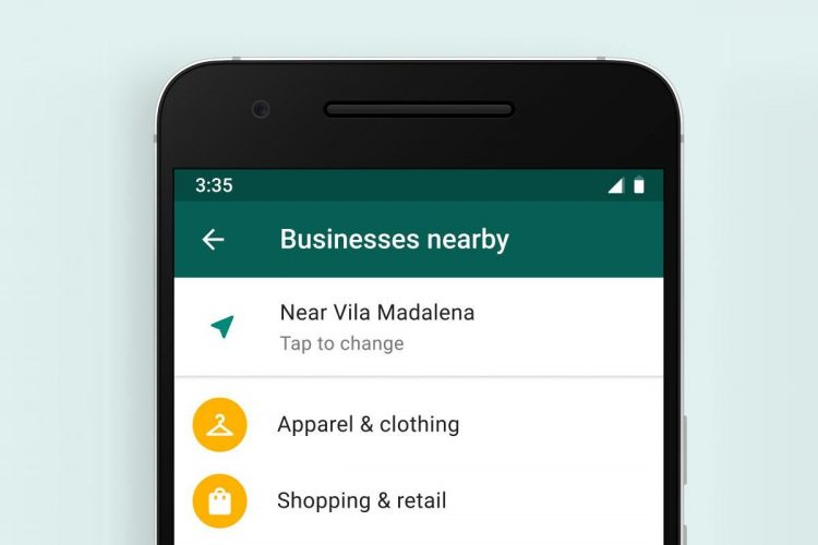 WhatsApp as yellow pages: The app tests a list of nearby businesses to chat with