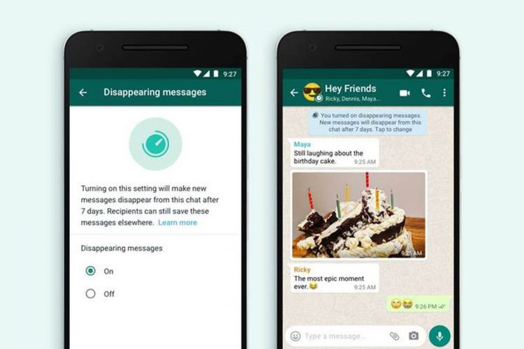 WhatsApp offers four time options for disappearing messages