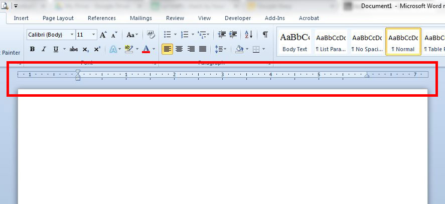 How to show or hide the ruler in Word?